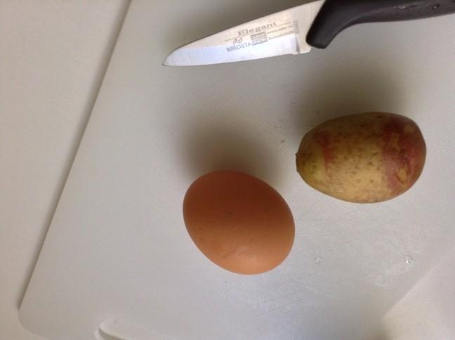 1 aardappel en 1 ei