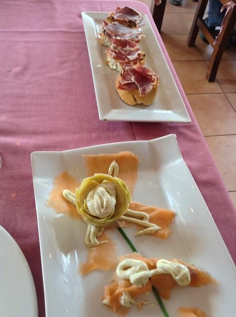 Zalm met artisjok en jamon iberico